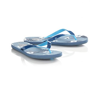 Twisted Soul Mens Blue Hibiscus Flip Flops, Officers Club, £6.99