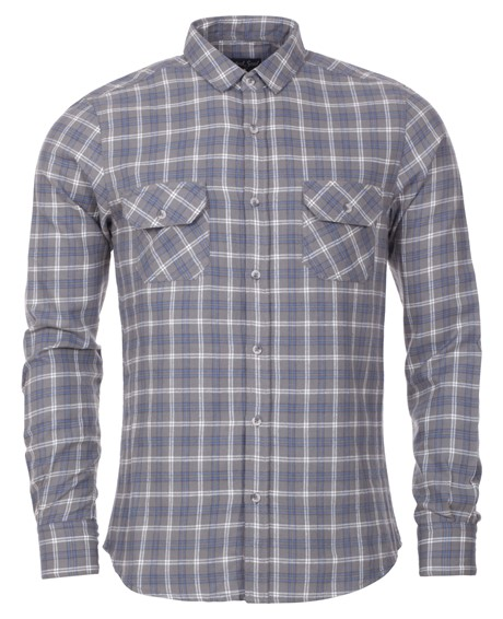 Twisted Soul Mens Grey Lumberjack Check Shirt 1699