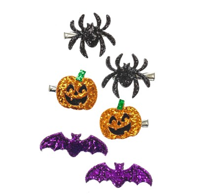 6 Pack Spooky Glitter Hair Clips