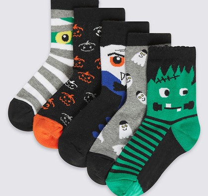 5 Pairs of Cotton Rich Halloween Novelty Socks