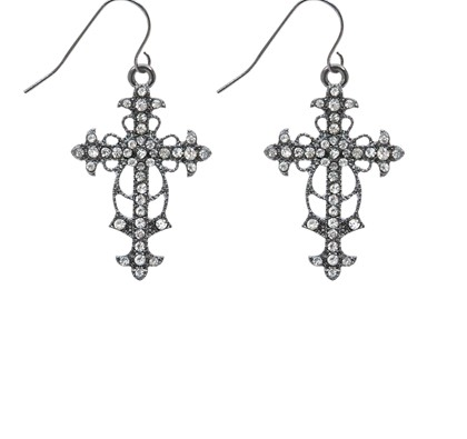 Silver Diamante Cross Drop Earrings