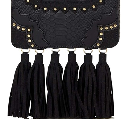 Black Tassle Rita Clutch Bag by Skinny Dip