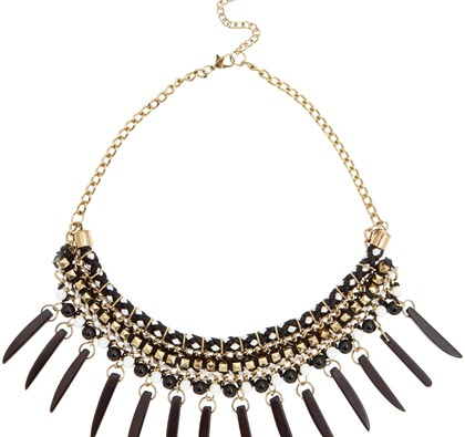Black Studded Spike Necklace