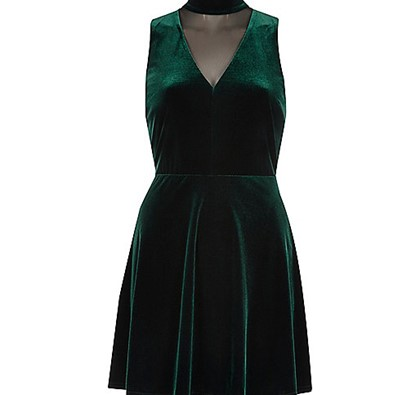 Dark green velvet choker mesh skater dress