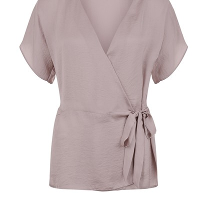 Lilac Sateen Tie Side Wrap Front Blouse