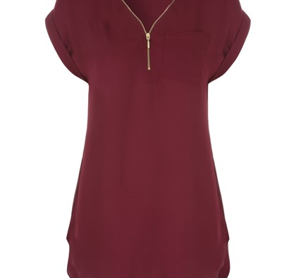 Womens Purple Zip Front Top