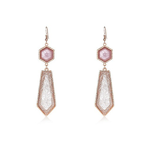 Purple gem drop earrings